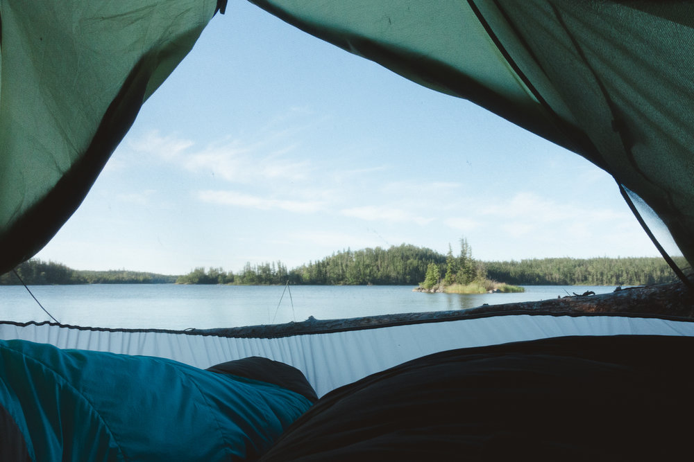 Morning view from the tent on Otter Lake.