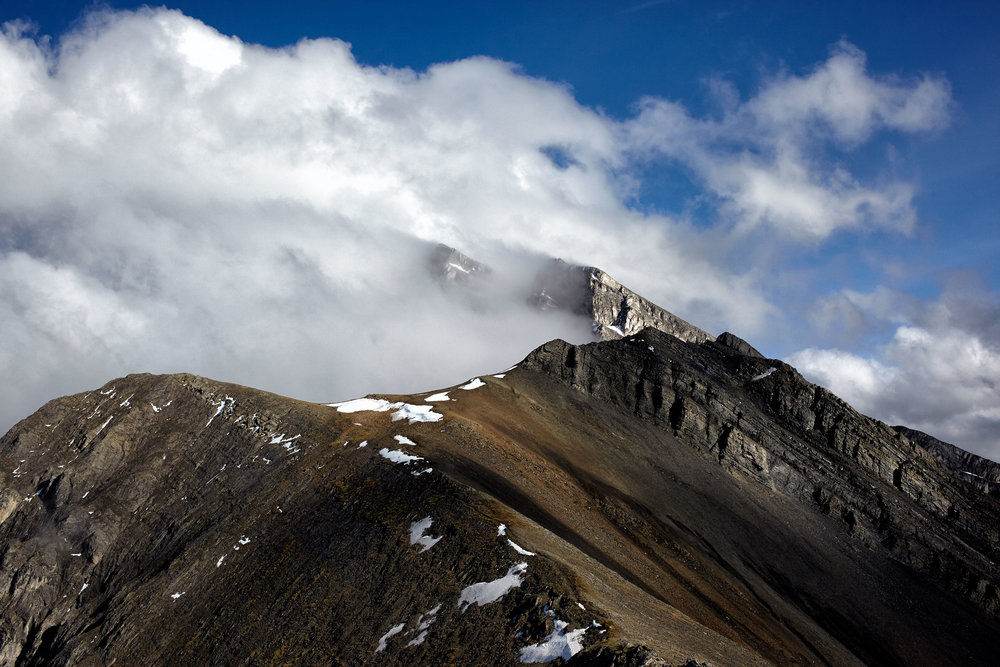 Clouds forming on Mount Lawrence Grassi, Canmore, Alberta.