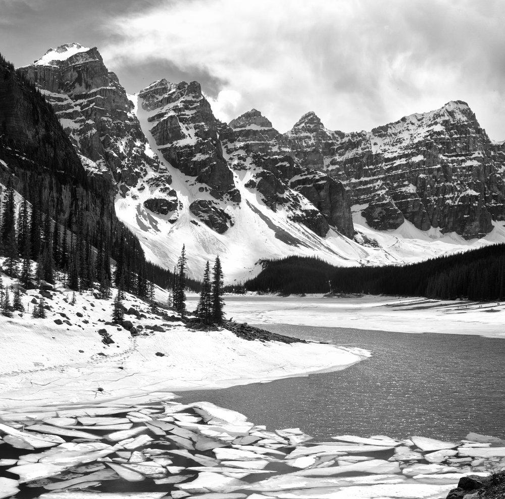 Melting Ice on Moraine Lake, Banff National Park, Alberta
