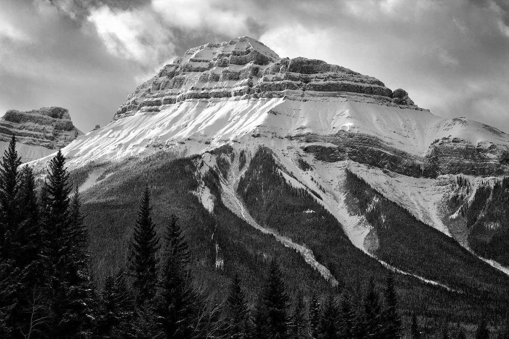 Snow-covered Pilot Mountain, Banff National Park, Alberta