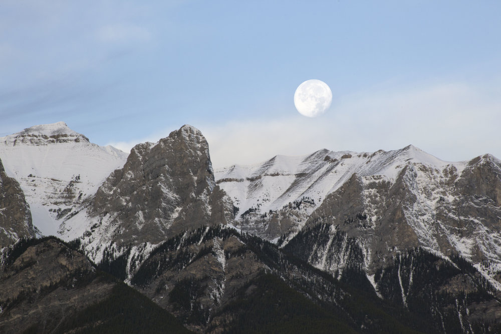 Moon Over Rundle, Canmore, Alberta