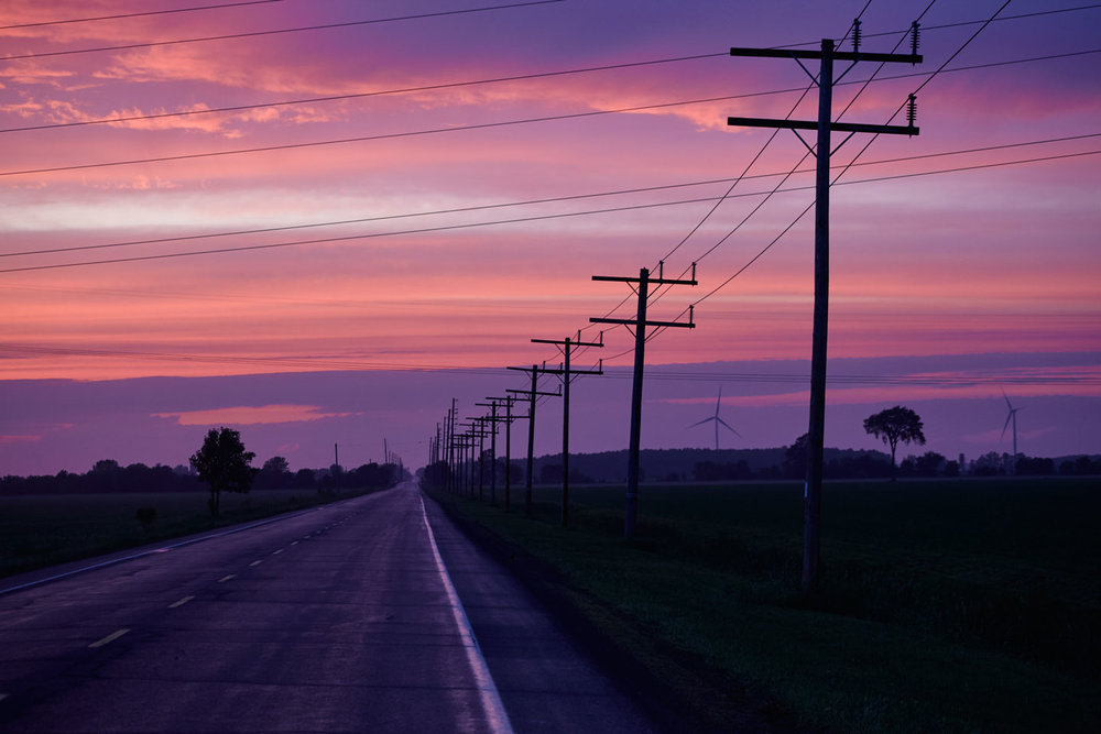 Sunset on a country road, Brinston, Ontario