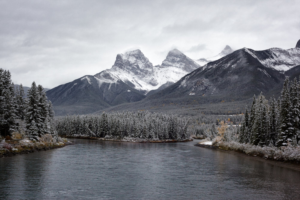 Typical Fall Snow on the Three Sisters, Canmore, Alberta