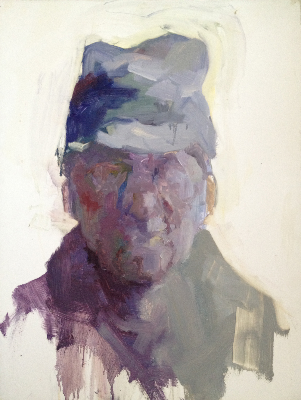 Man with Hat - Oil on Paper
