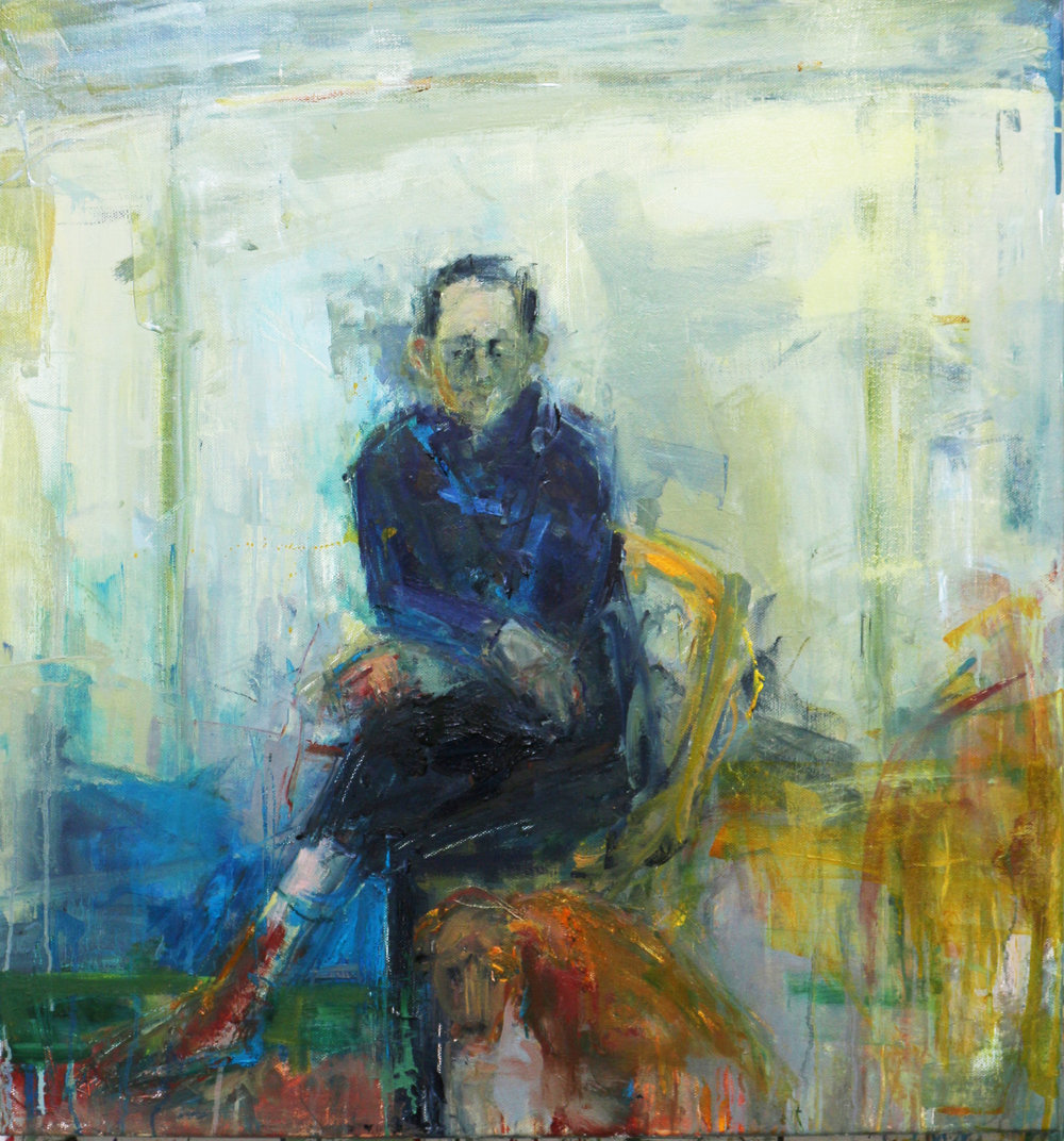 Seated Man with Dog - Oil on Linen 76x82 cm