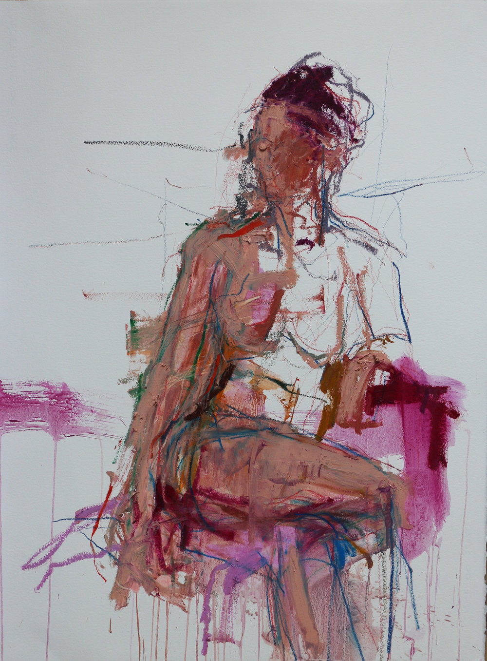 Seated Woman on Magenta - Oil Pastel