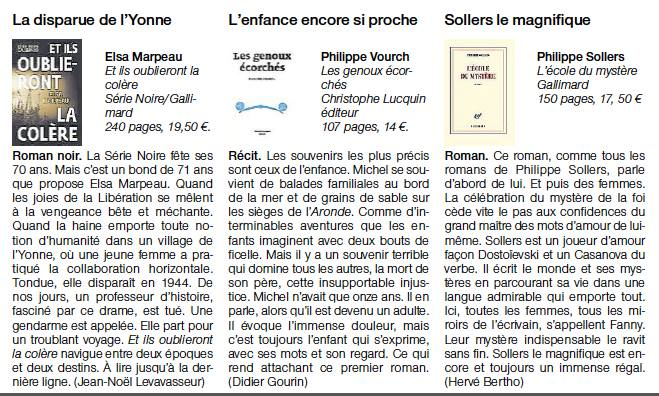 Journal Ouest-France, rubrique livre dimanche