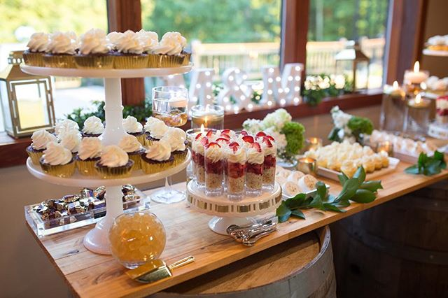 A taste of delicacy  #dessert #desserts #desserttable #virginia #ashtoncreekvineyard #weddingfun #weddingdessert #treats #tastytreats #tasty #cakes #cupcakes #tarts #weddingdetails