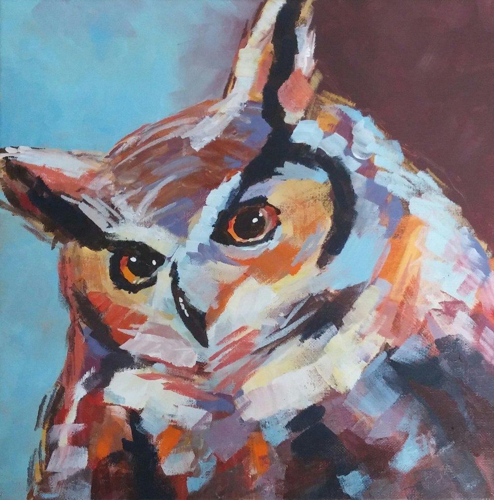 """Christian's Owl  12"""" x 12"""", acrylic on canvas  Gifted"""