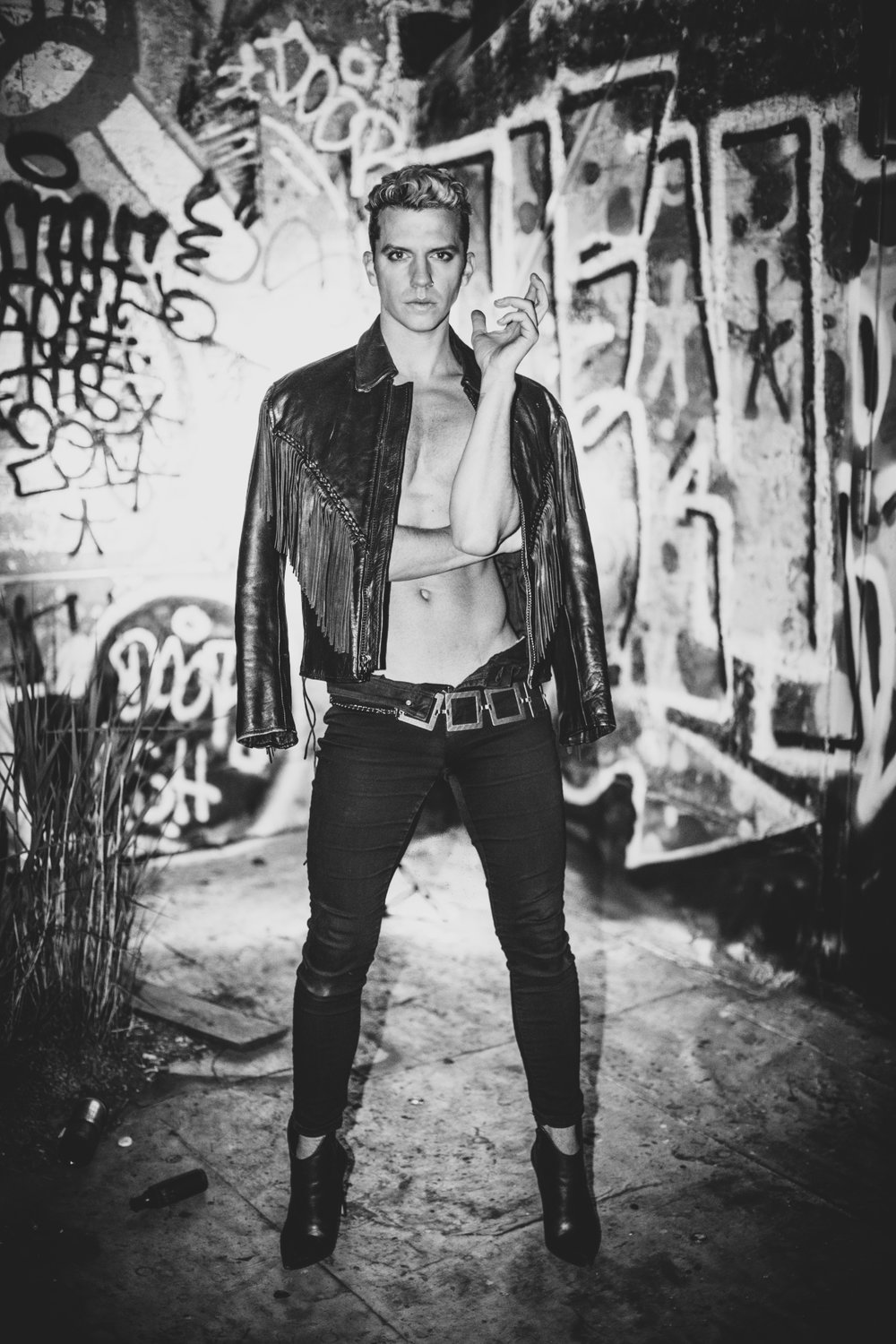 WBC Photo shoots lead singer, Richie Bee, of NYC rock band DEITRE in Bushwick, Brooklyn.