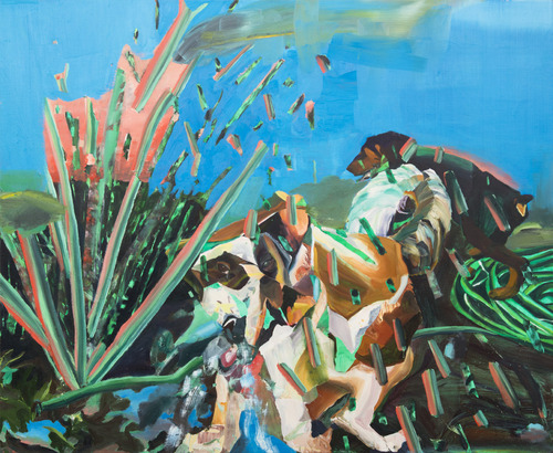 Water Fire Fight,   2010–2012, oil on linen, 44 x 54 inches