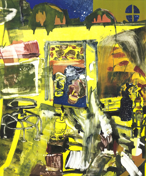 Last Year  , 2014, monotype with collage, 30 x 22 inches
