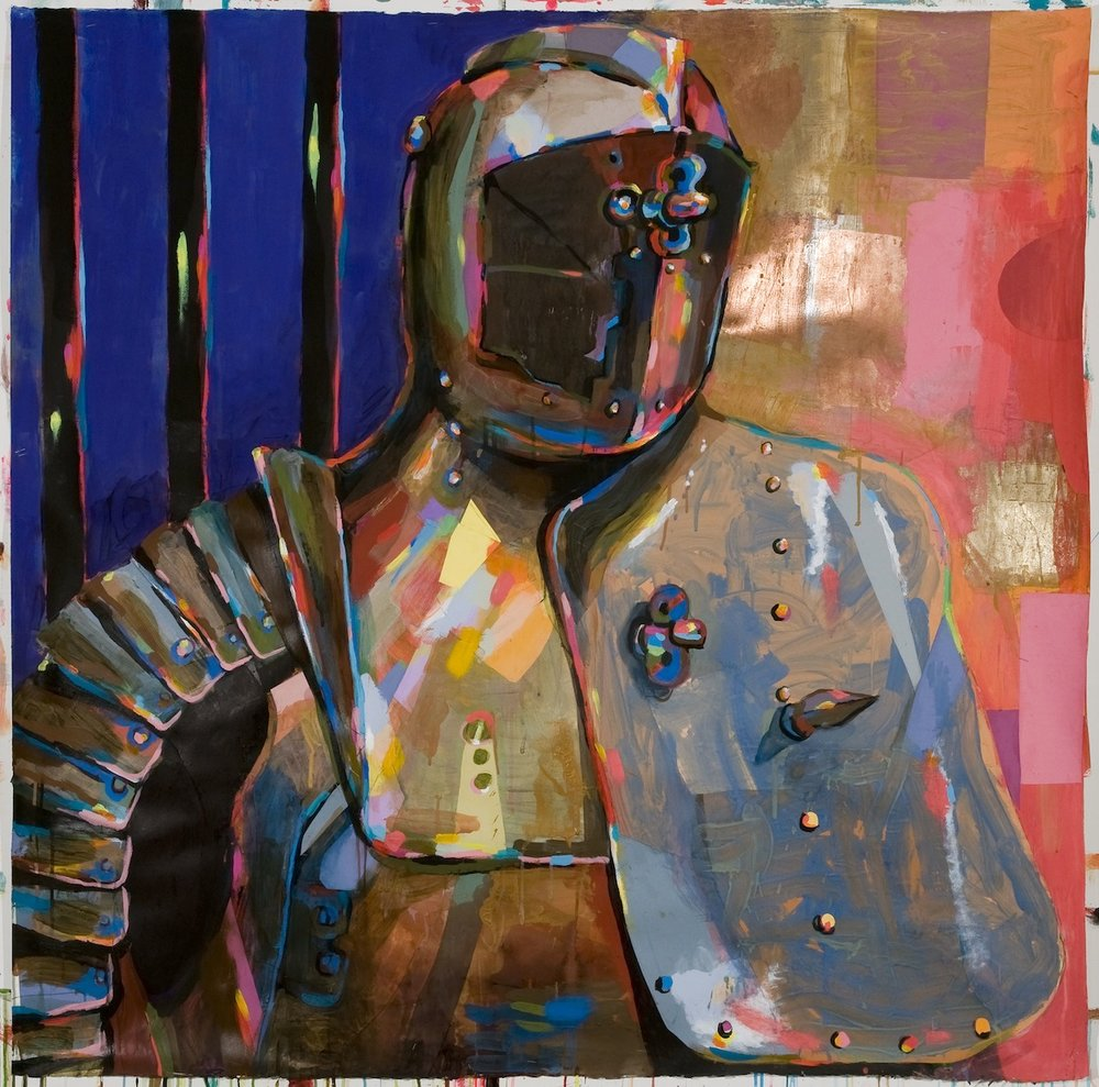Battle Armor II, 2012,  acrylic, ink, collage, gold and copper leaf on paper, 51.5 x 52 inches