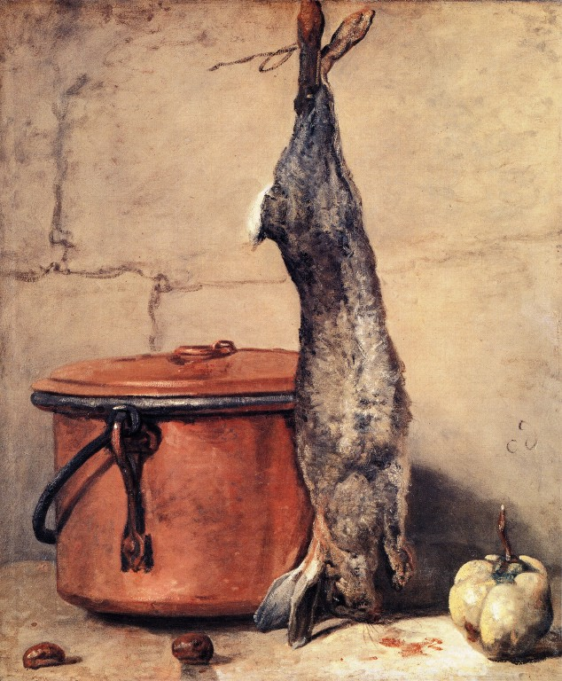 Jean-Baptiste-Simeon Chardin,   Rabbit and Copper pot , 1739  oil on canvas.