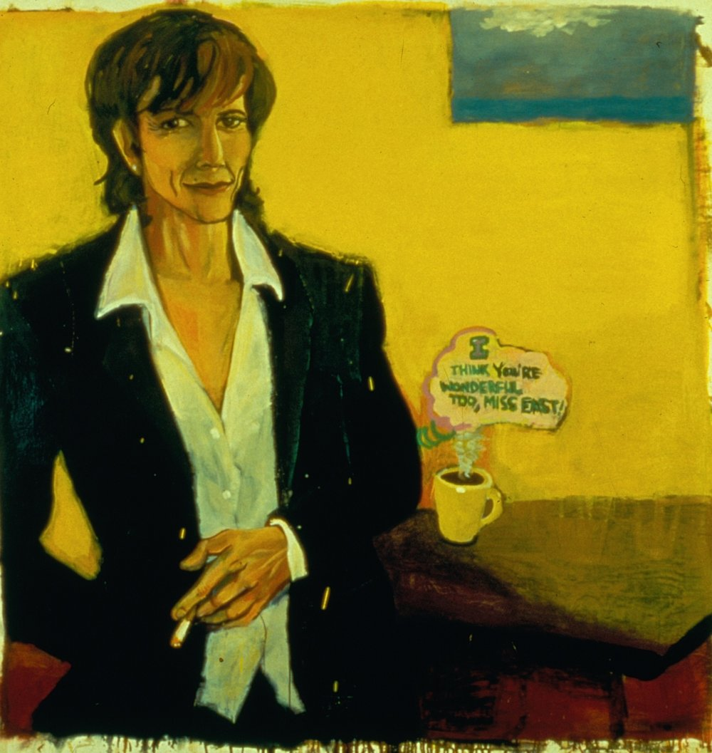 Marcia Clark, 1997, oil on canvas (transfer from bad slide),  60 x 61 inches