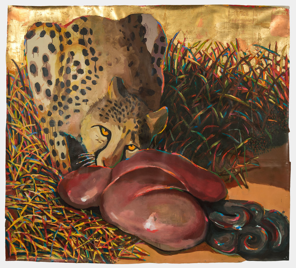 Hunter Moon (Cheetah with Stomach), 2016, acrylic, ink, collage, gold and copper leaf on paper, 66 x 61 inches
