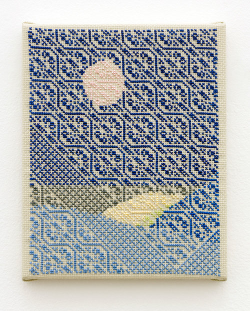 Study (Blue Horizontal), 2016, Hand-embroidery in cotton on Aida on canvas, 10 x 8 Inches