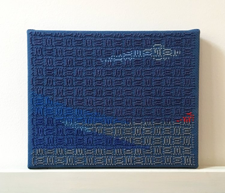 Study (Blue Amorous As A Cloud), 2016, Hand-embroidery in cotton on Aida on canvas 8 x 10 Inches