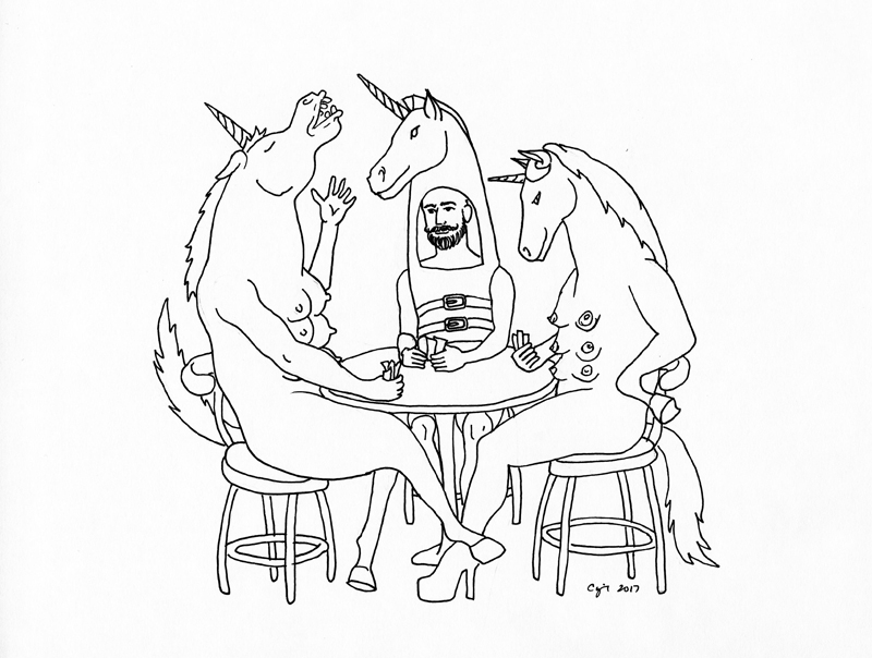 CUNT 6.20.2017 Unicorn Games , 2017  pigma pen on paper   9 x 12 inches
