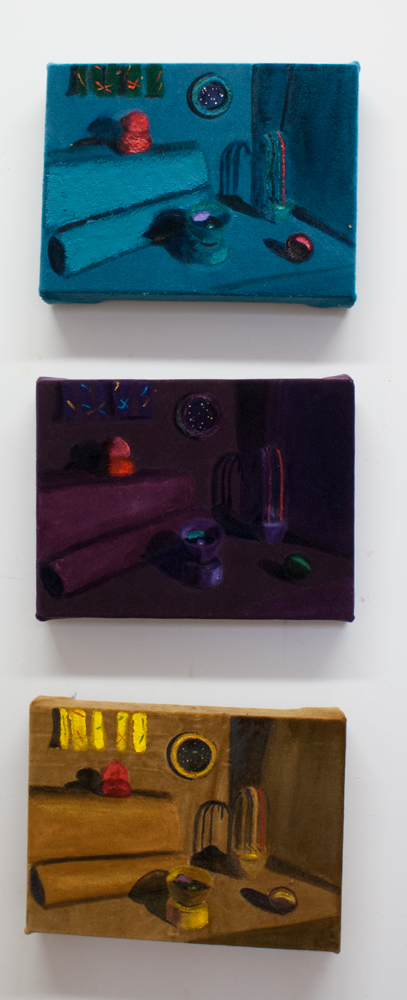 Peggy'sCurtains in Purple;   Peggy's Curtains in Gold; Peggy's Curtains in Teal;  Each:   oil on velvet, Each: 9 x 12 inches