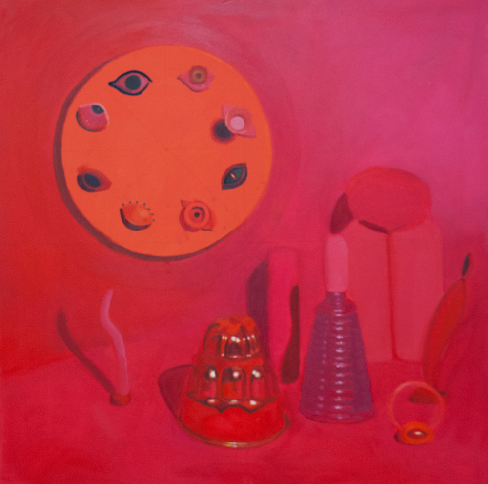 Pink Still Life , oil on velvet, 36 x 36 inches