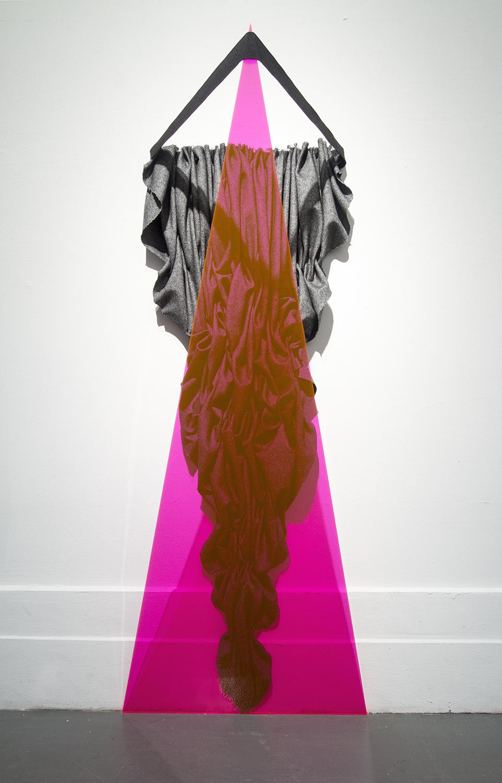 """Susan Stainman, """"Three Triangles"""" 2014 Fabric, Plexiglass, Elastic  41"""" x 16"""" x 10"""", 2016"""