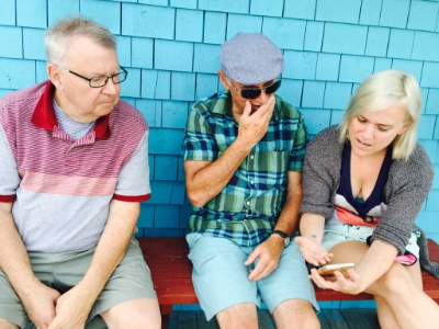 The author, her father and her uncle talk shop while waiting for fried clams and lobster rolls in New Brunswick.