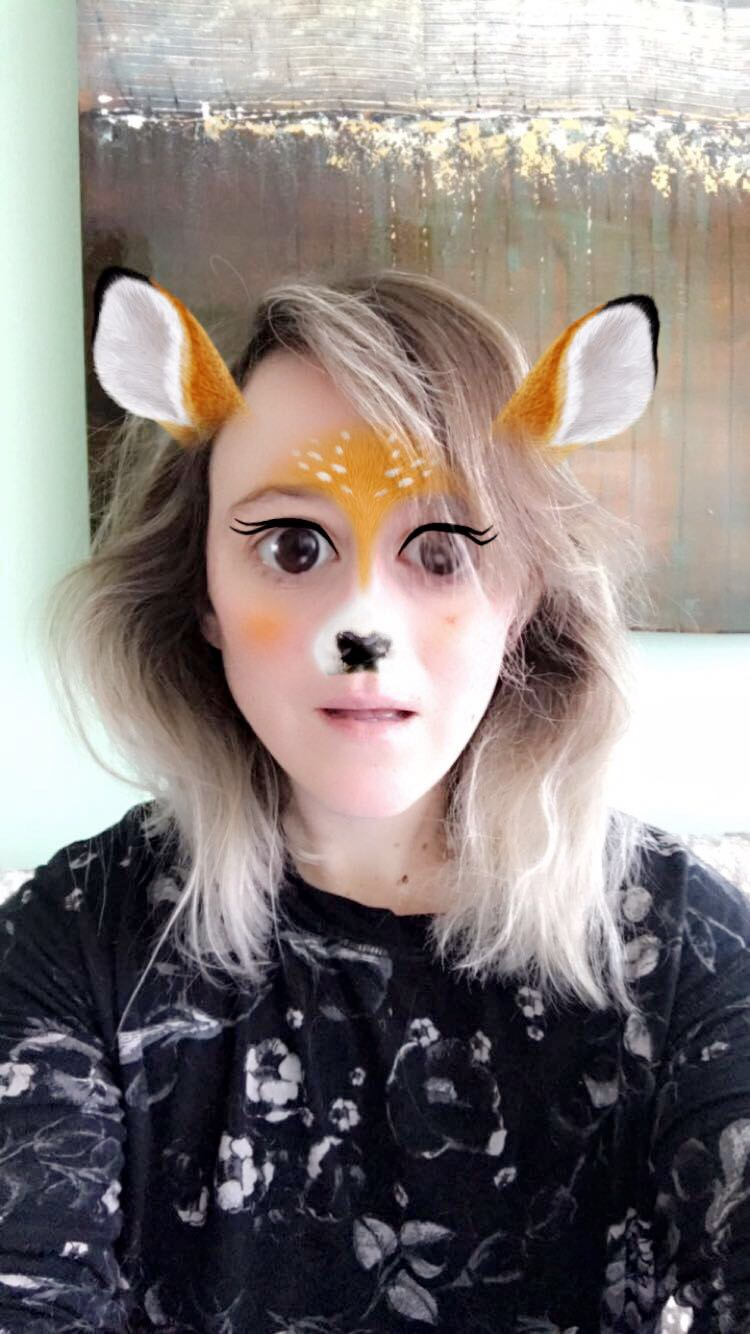"Obligatory Snapchat-deer-filter-photo ... you know ... because of the ears and the whole ""listening"" angle. (I couldn't get my dog to pose with headphones.)"