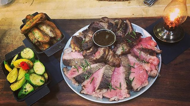 @alexwebberfood's serve on our dry-aged ribeye for two is kind of epic. - - - - #steak #steakandwine #eatlocal #smallfarmsupporter