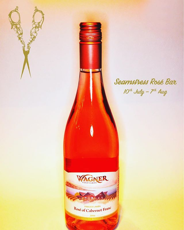 Only one week left for this years Seamstress Rosé Bar! Still over 30 wines to choose from, rosé cocktails and $1 oysters always. This Cabernet Franc rosé from Wagner vineyards in the Finger Lakes region of New York is reason enough to drop in. Another fine example of the excellent health of NYs wine industry! - - - #wagnervineyards #fingerlakes #nywine #drinklocal