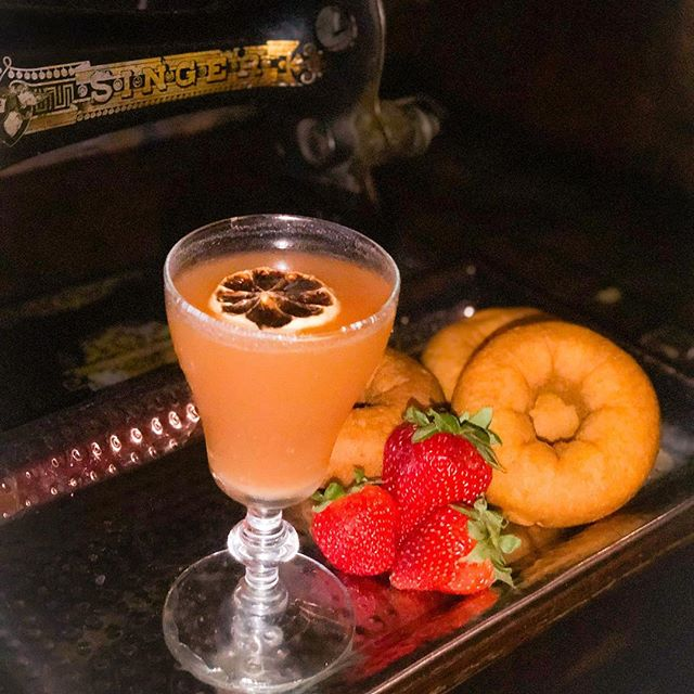 We think it's time to #TreatYoSelf to this beauty of a cocktail inspired by Little Richard and Grease! #Donuts #Strawberries and @tequilatromba combine to make this spring/summer sipper! How did we get donuts in a drink? How are Little Richard and Grease involved? Swing by and find out!