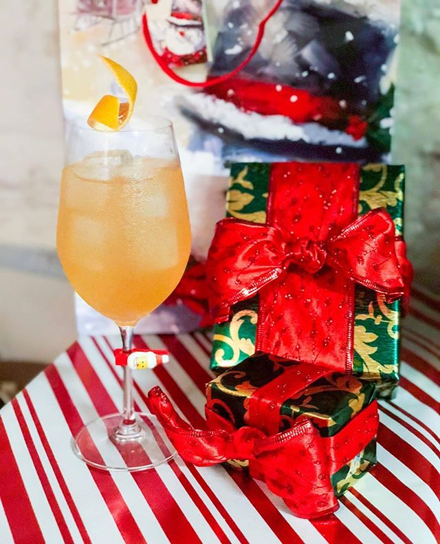 Spend Christmas night with us! We are open from 5:30pm with home style food service, Amaro open bar and festive drink specials. This is 'Santa's Spritz' Caperitif  St Germain  Yuzu  Tonic Grapefruit