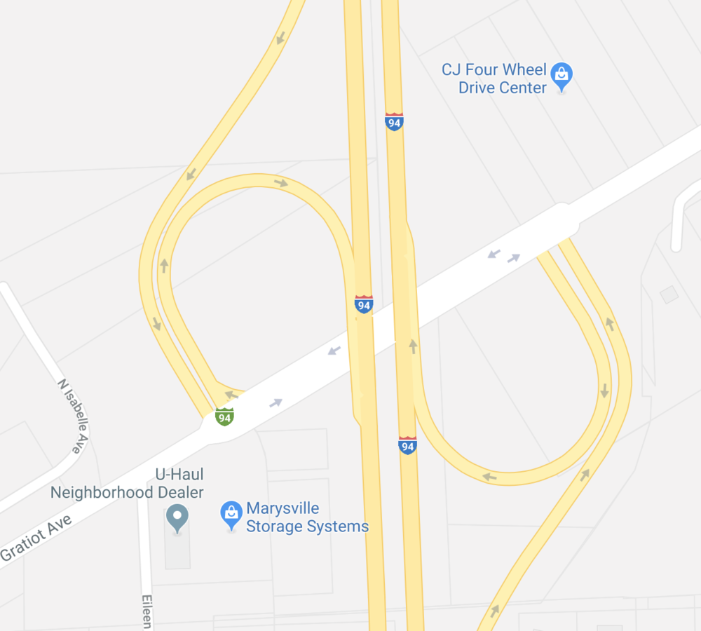 Source: Google Maps - Partial Cloverleaf Ramp at I-94 and Gratiot Avenue in Detroit