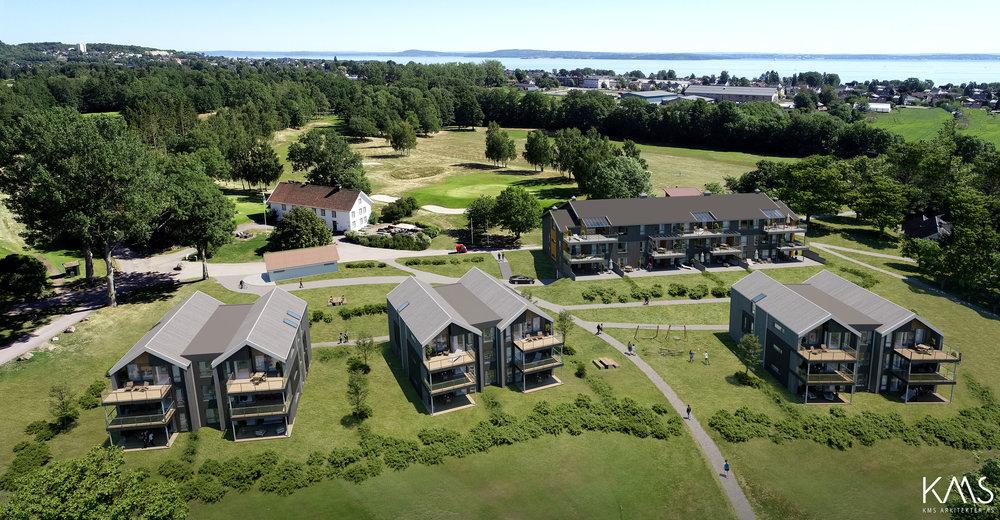 Byggetrinn 1: To bygg lengst til høyre  Byggetrinn 2: To bygg til venstre