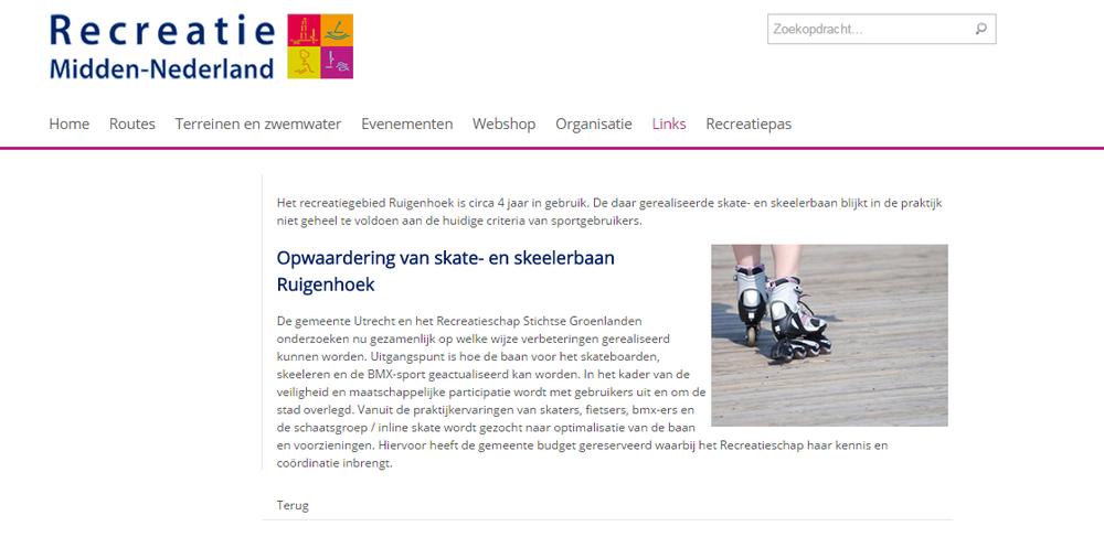 Nieuwsbericht #1 op de site van Recreatie Midden-Nederland