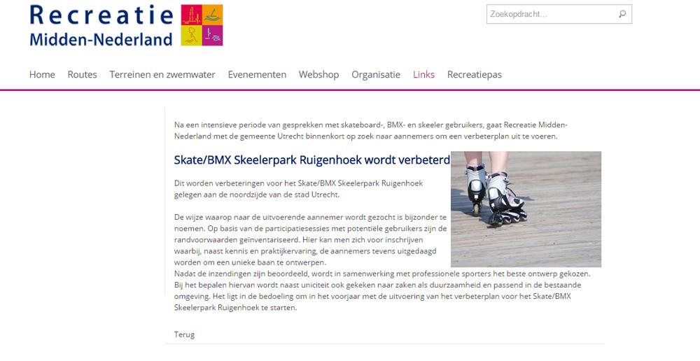 Nieuwsbericht 2 op de site van Recreatie Midden-Nederland