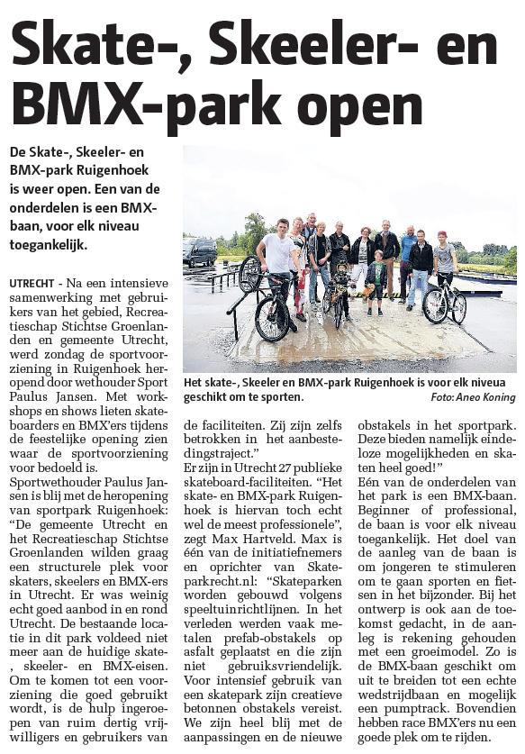 Nieuwsbericht uit Stadblad Utrecht van 24 juni 2015.