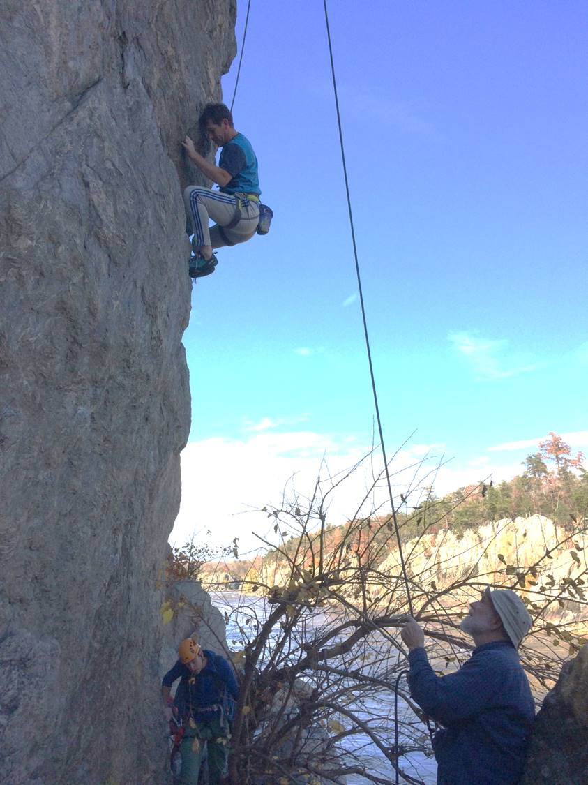 Erik climbing backscratcher along Great Falls, Virginia side.