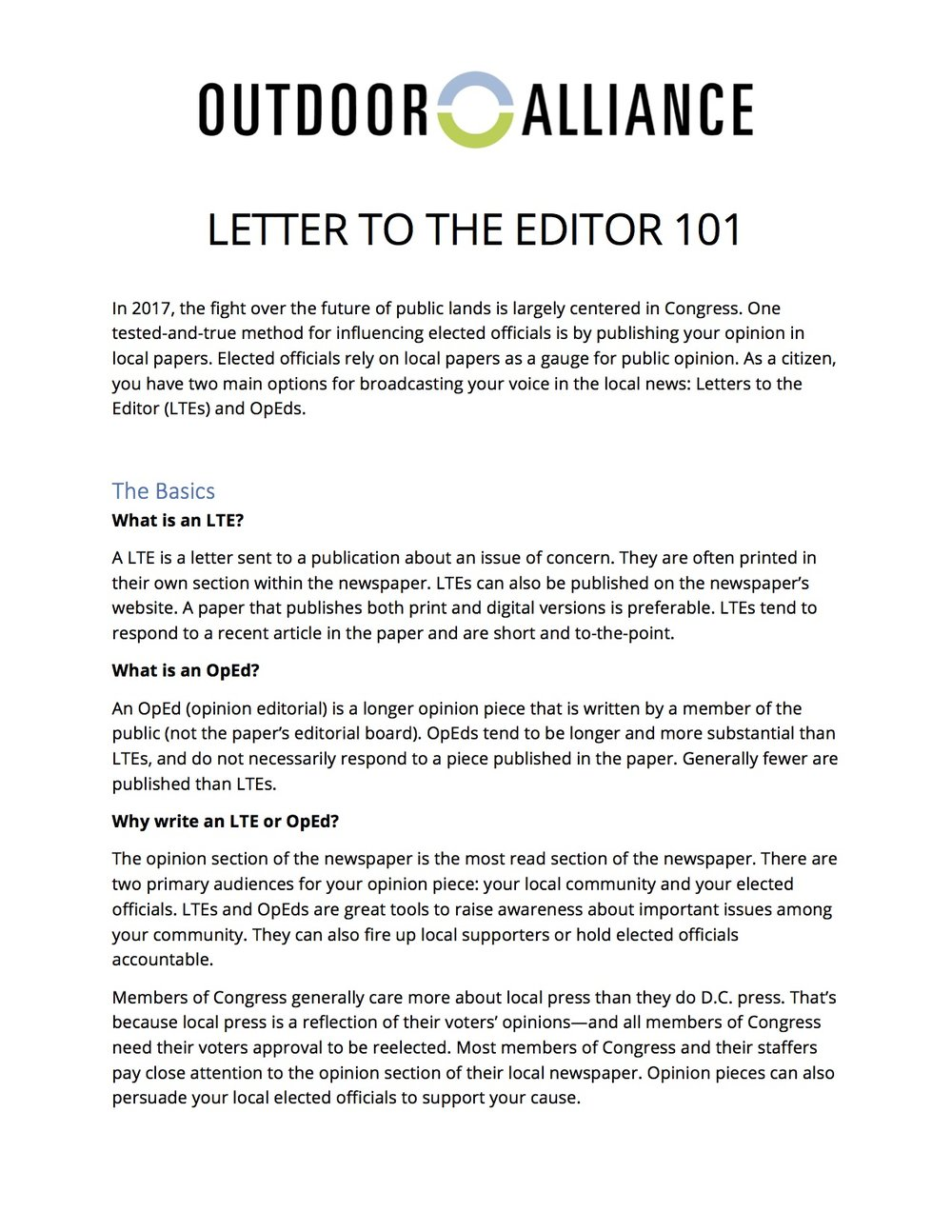 How To Write A Letter To The Editor  Outdoor Alliance