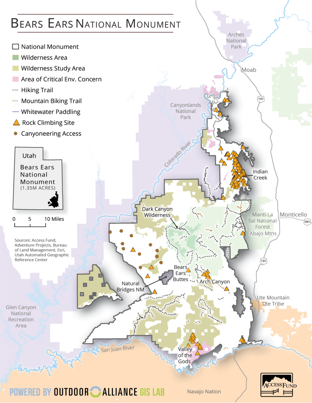 Original boundaries of Bears Ears National Monument, via GIS Lab