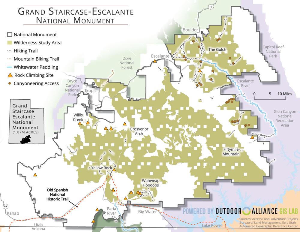 Original boundaries of Grand-Staircase Escalante National Monument, via GIS Lab