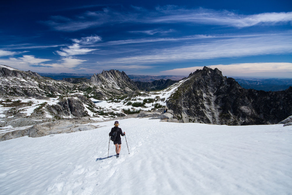 A Mountaineer hikes in the Alpine Lakes Wilderness Area. In 2014, The Mountaineers helped champion legislation that expanded this Wilderness Area by 22,000 acres. Photo credit: Ida Vincent.