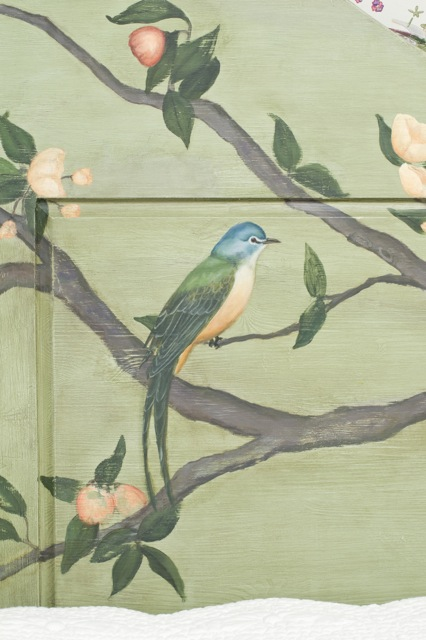 The Client Wanted To Personalize It, So I Painted It This Soft Green With  Light Aging. I Then Hand Painted The Branches, Flowers, And Delicate Bird  To Mimic ...