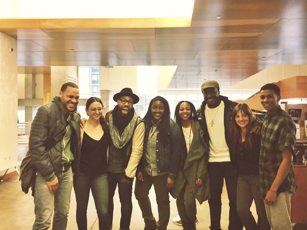 From left to right: Eden Marryshow, Danya Taymor, Ugo Chukwu, me, Sheria Irving, Andy Lucien, Hanna Cheek, and Brett Grey