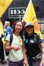 Chiho Kaneko (left) and Rachel Clark  were happy to march together for a nuclear free future.