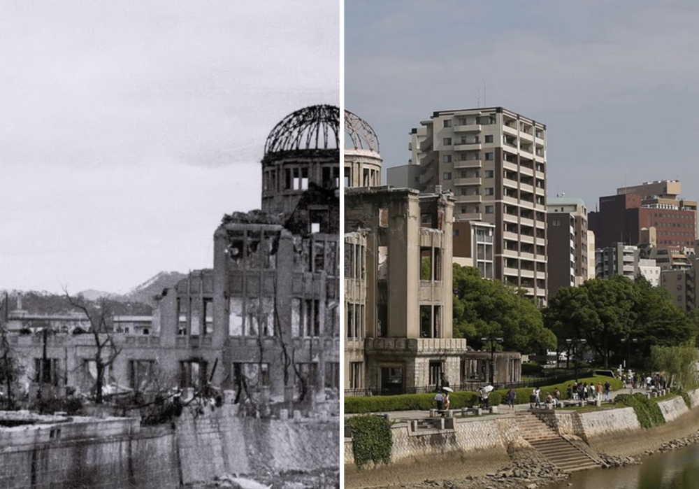 Before: The Hiroshima Prefectural Industrial Promotion Hall immediately after the bomb fell. After: Today's structure has been preserved exactly as it was 70 years ago. The city's Peace Memorial Park surrounds the building, also known as the Genbaku Dome.   Taken from Reuters.
