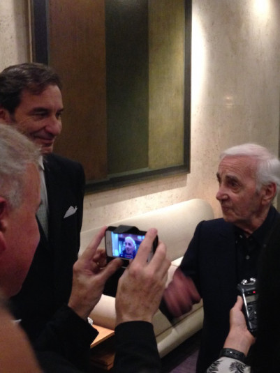 Charles Aznavour with Ambassador Thierry Dana