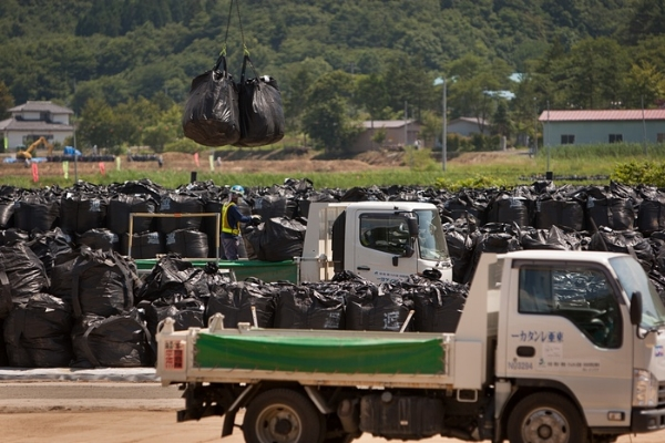 Radioactive debris from the Fukushima Prefecture is stored in bags