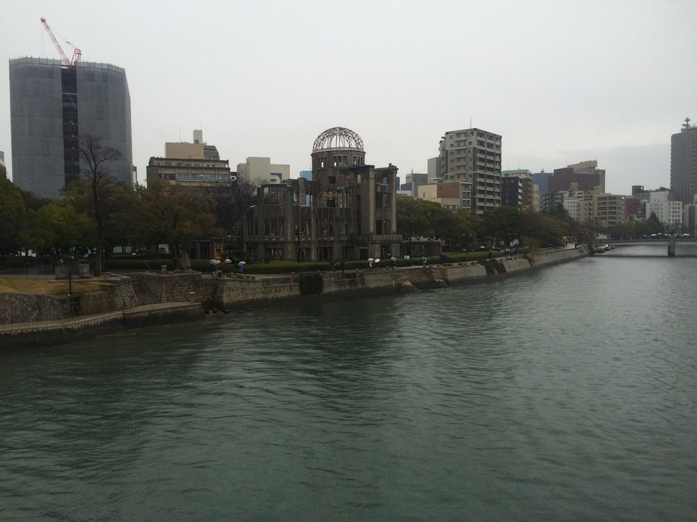 Genbaku Dome was the only building to survive the atomic bombing of Hiroshima, although all those inside died of radiation. After the bomb hit, the river was filled with bodies.