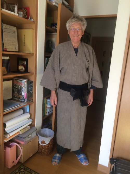 Trying on a traditional Japanese robe